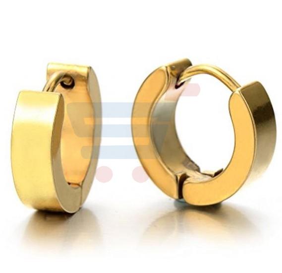 Stainless Steel Gold Hoop Earring Set For Men