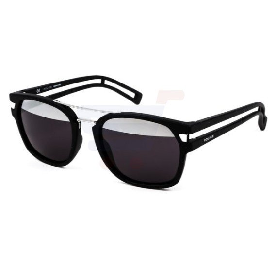 Police Aviator Shiny Black Frame & Grey Mirror/Category: 3 Mirrored Sunglasses For Unisex - S1948-U28H