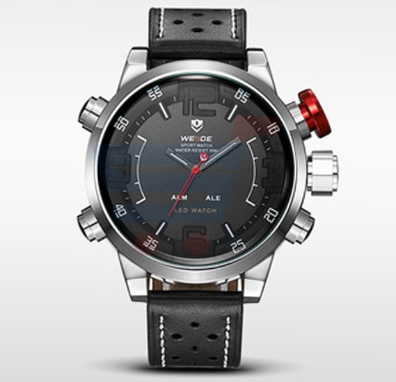 Weide Mens LED Sports Watch 3D Black Face Genuine Leather - 5210
