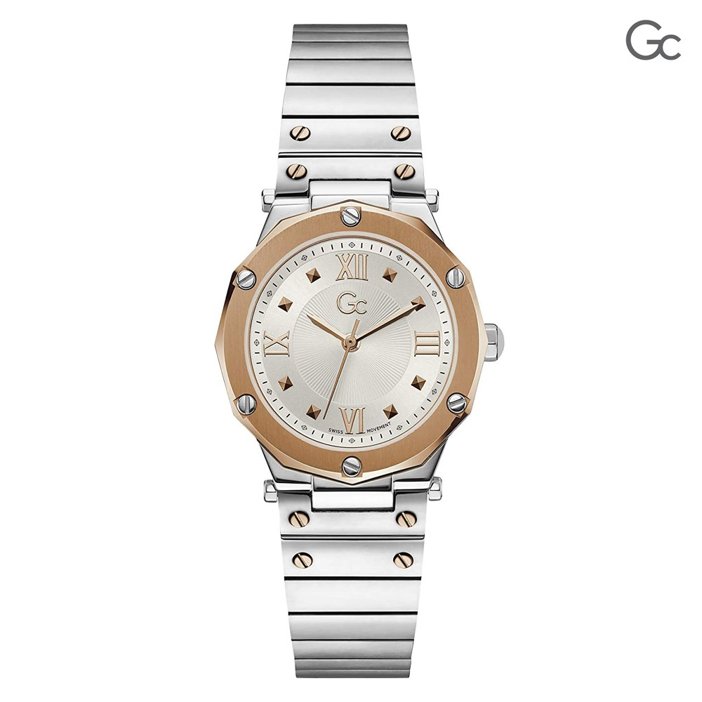 Gc Spirit Lady Silver And Rose Gold Color Womens Watch, Y60002L1MF