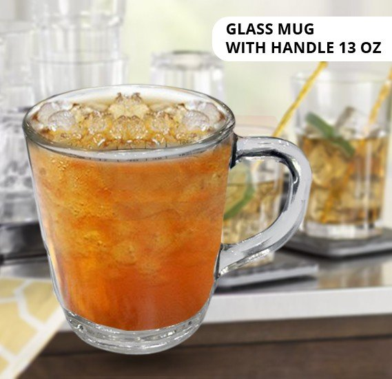 Glass Coffee Mugs with Handle 13 oz
