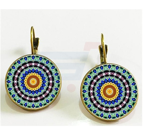 Vintage Classic Mandala Elegant Earrings, Flower Bronge Color