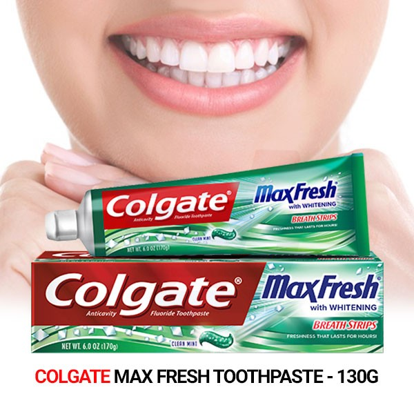 Colgate Max Fresh Toothpaste with Mini Breath Strips Clean Mint - 130g