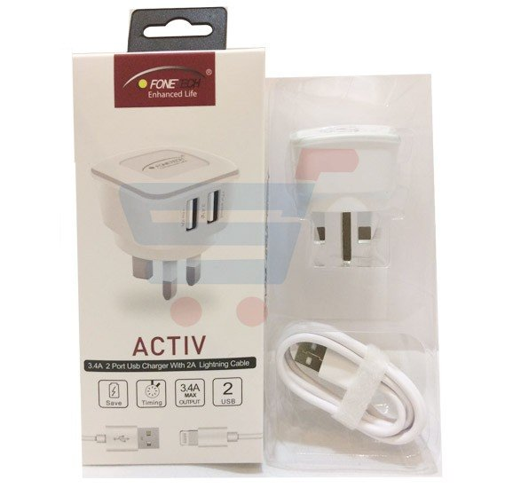 Fonetech Activ 2 port charger for Apple I phones White