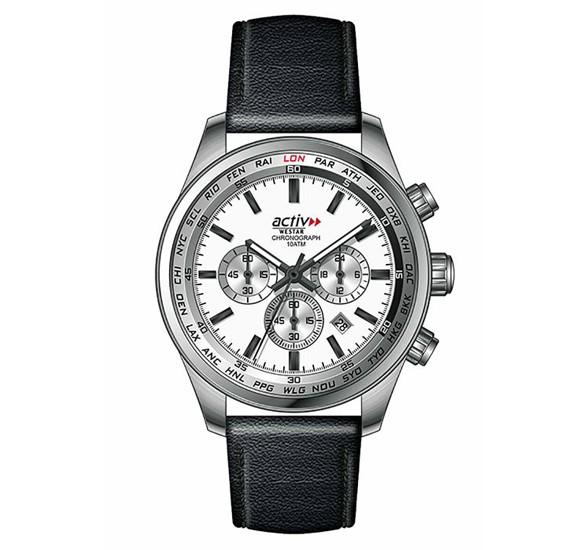 Westar 90178STN107 Leather Round Analog Gents Watch Silver