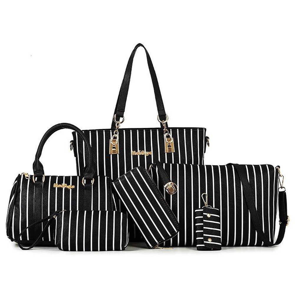 Womens 6 Pcs PU Leather Composite European And America Style Hand Bag Set
