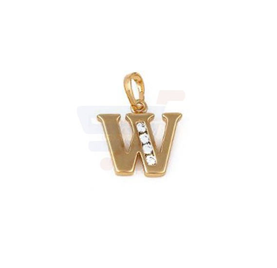 Xuping Necklace Pendant Gold Plated Letter  W