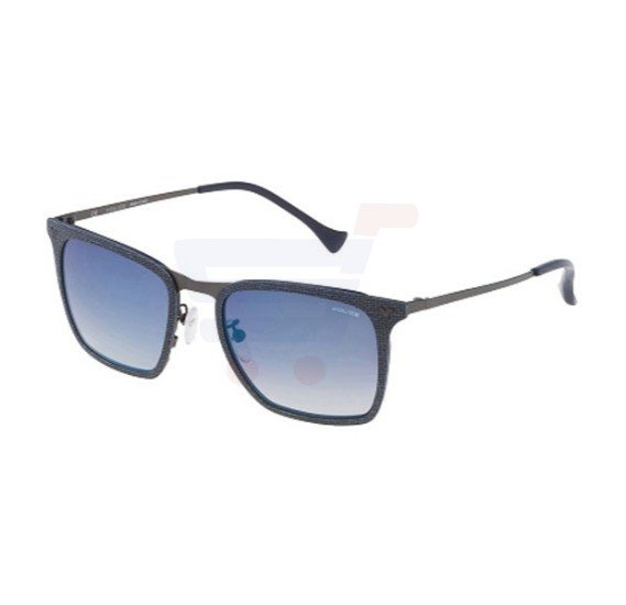 Police Wayfarer Blu Eff. Cloth Frame & Blue Gradient Mirrored Sunglasses For Men - SPL154-AG2B
