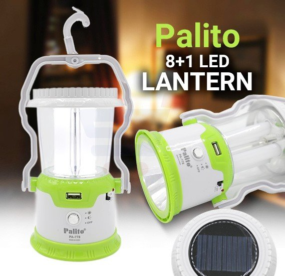 Palito 8+1 LED Solar Rechargeable Lantern, PA-778