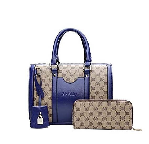 Generic Ladies women Handbag Vintage PU Leather Purse 2 PCS Set Bag, BLUE, SB210/BL