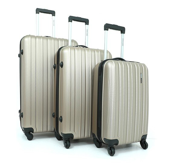 Para John PJTR3018B ABS Trolley Bag Set of 3 Pieces - Champagne