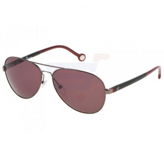Carolina Herrera Aviator Black Chrimson Red Frame & Shiny Gunmetal Gradient Mirrored Sunglasses For Women - SHE070V-0568