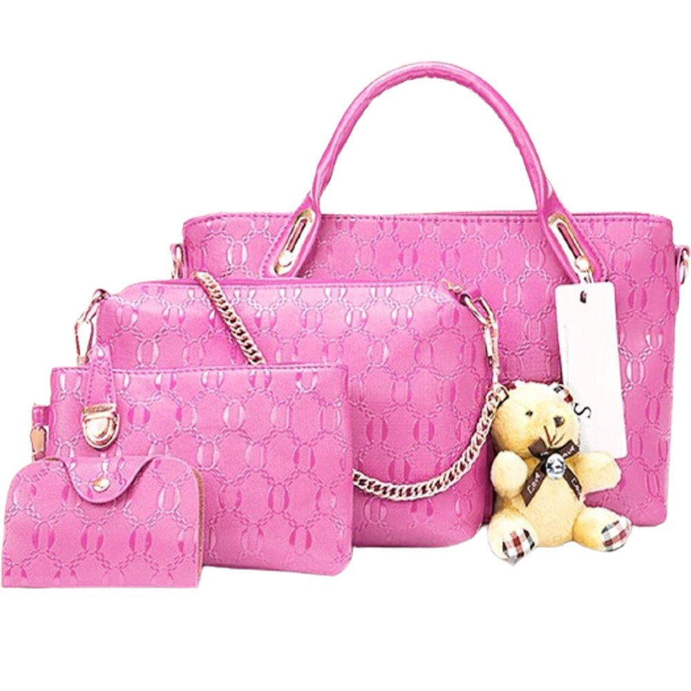 Womens 4 Pcs PU Composite hand bag set with Teddy Keychain Pink