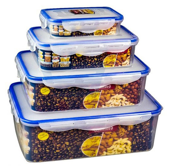 Royalford 4 Pieces Airproof Rectangle Container Set RF1412-APBS4