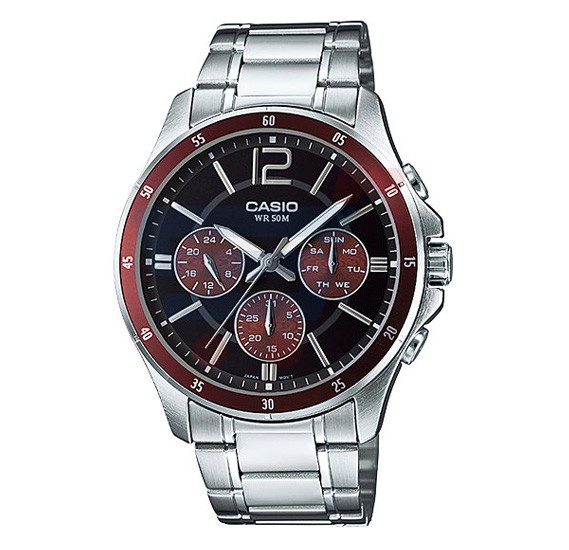 Casio Analog Watch For Men, Silver Stainless Steel With Date Indicator-MTP-1374D-5A