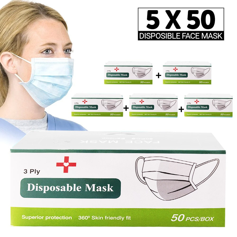 5 Box 3 Ply Disposable Face Mask Pack, 5 x 50 Pieces
