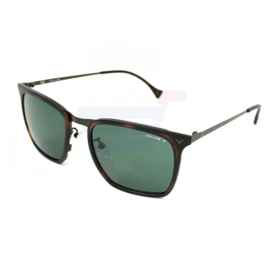 Police WayfarerShiny Havana Grad. Yellow Frame & Green Gradient Mirrored Sunglasses For Men - SPL154N-Z40P