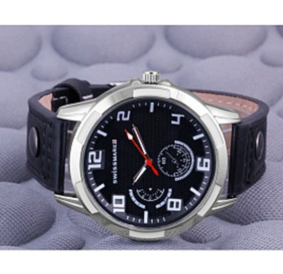 Swissmark Analog Trendy Sports Leather Watch For Men, Black,SMWK113