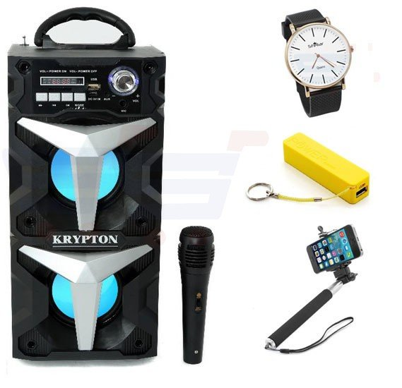 Bundle Offer Krypton Rechargeable Bluetooth Portrable Speaker With MIC, KNMS6048 Get Free Power Bank A5, 2600 MAh Capacity + Selfie Stick for Smartphones + Stellar Luxury Quality Quartz Watch for Women And Men Black-ST102