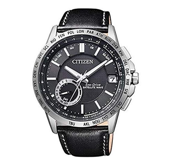 Citizen Eco Drive Satellite Wave World Time Watch for Men - Analog Leather Band, CC3001-01E