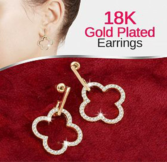 Victoria 18K Gold Plated Elegant Four Leaf Clover Shape Open Design Earrings With CZ Stones, VKE108