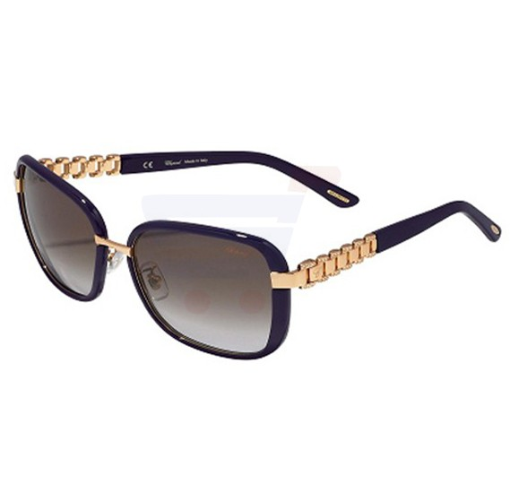 Chopard Wayfarer Copper Gold Frame & Brown Gradient Mirrored Sunglasses For Unisex - SCHA64S-8FCX