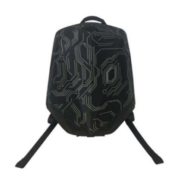 Buy Brave Backpack With Bluetooth Speaker And Power Bank 5000mAh Nylon Black Circuit Pattern