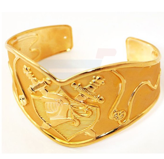 18k Real Gold Plated Vintage Saint Paladin Swords Cuff Bracelet For Men