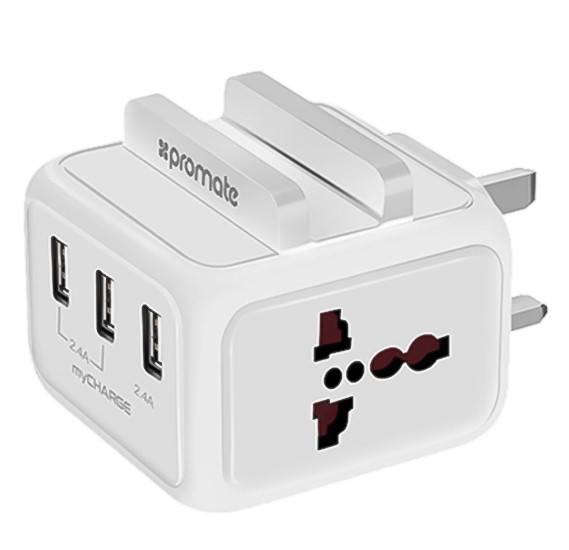 Promate USB Wall Charger, Heavy Duty Charger with Smartphone Dock with 24W Dual Universal AC Sockets and 4.8A Three USB Ultra-Fast Charging Ports for All Smartphones, Cameras and Tablets, MyCharge White