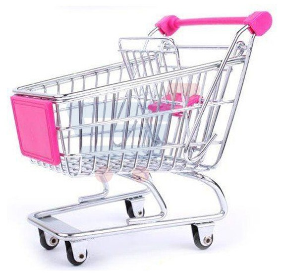 Wisedeal Pink Mini Shopping Cart Trolley