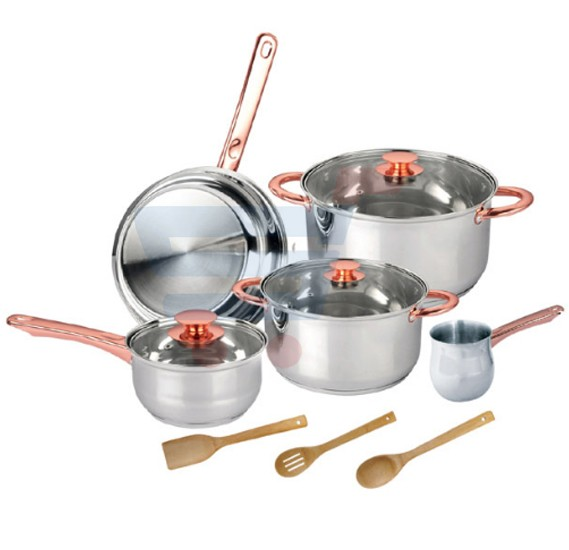 Royalford 11 Pcs Rose/Gold Cookware Set - RF7841