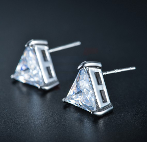 Tiara Elements White Gold Plated Triangle Studs - UE0154