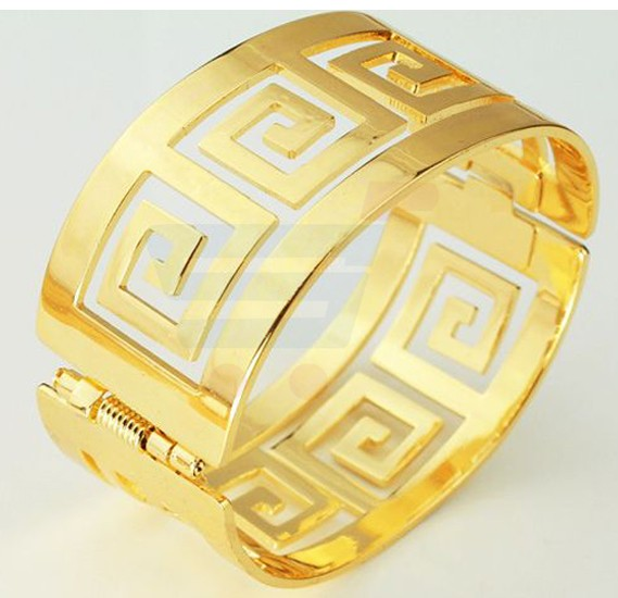 18k Real Gold Plated Heavy Cuff Bracelet For Men G Letter