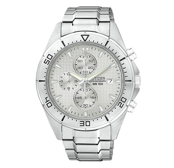 Citizen Mens White Dial Stainless Steel Band Watch, AN3460-56A