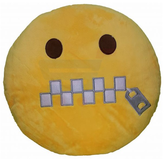 Yellow Round Cushion Pillow, Emoji Dont Speak