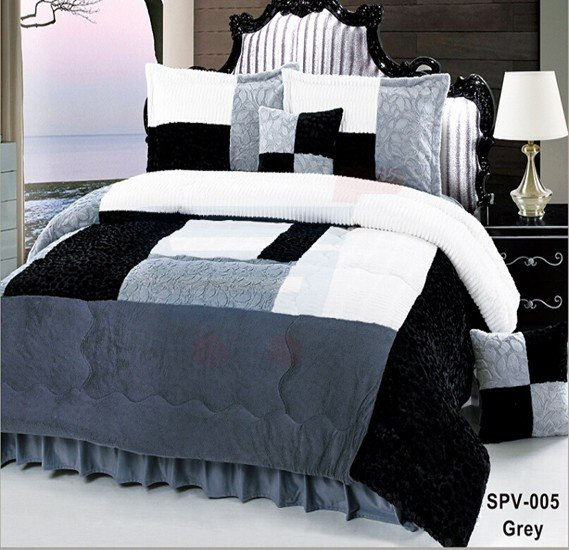 Senoures Velour Comforter 6Pcs Set King - SPV-005 Grey