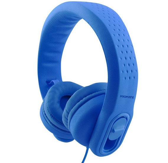 Promate Kids Headset, Over-Ear Volume Limited Wired Headphones with Mic, Adjustable Headband, FLEXURE-2.BLUE