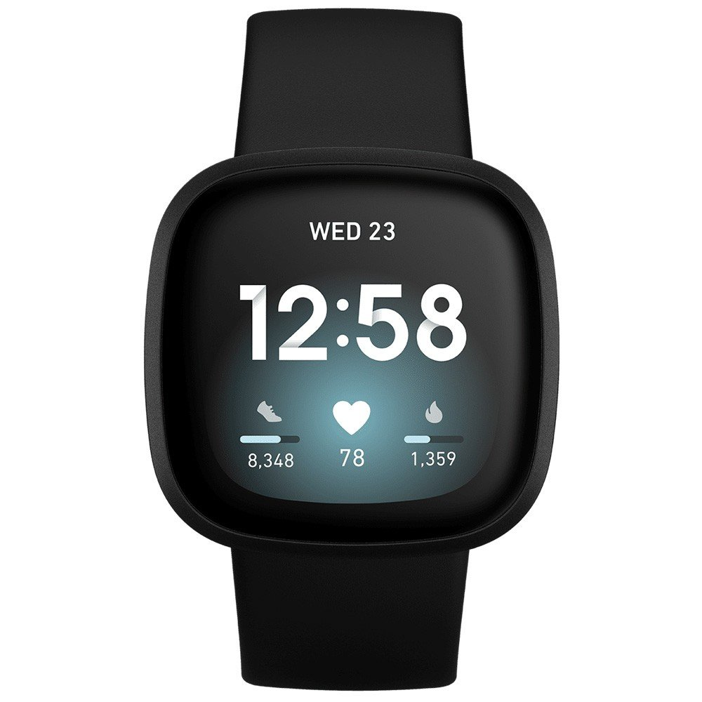 Fitbit Versa 3 Health And Fitness Smartwatch With GPS, Black and Aluminium