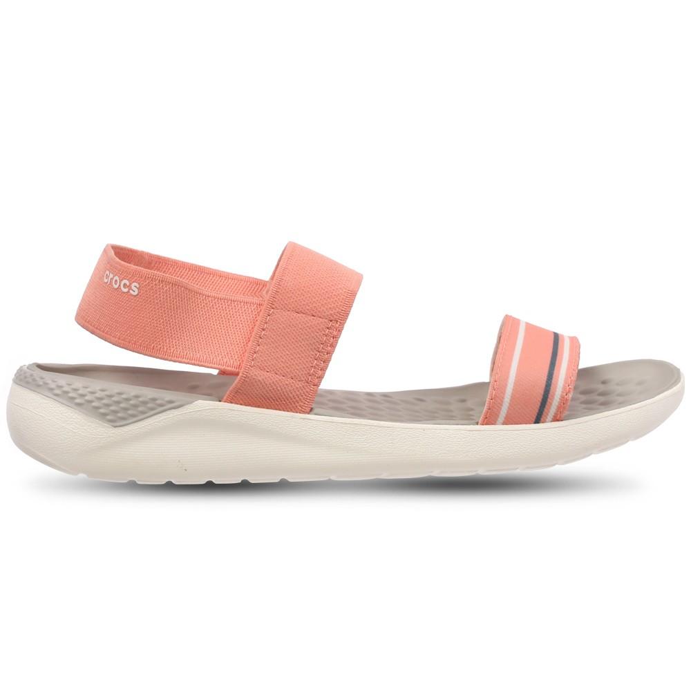 Crocs Womens Clogs Sandals Literide Sandal W Melon and White 205106-6KP, Size 39