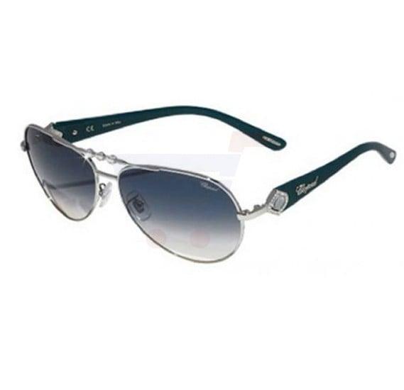 Chopard Oval Palladium Frame & Blue Gradient Mirrored Sunglass For Women - SCH997S-0579