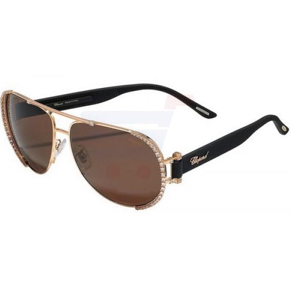 Chopard Oval Copper Gold Frame & Brown Mirrored Sunglass For Women - SCHA66S-08FC