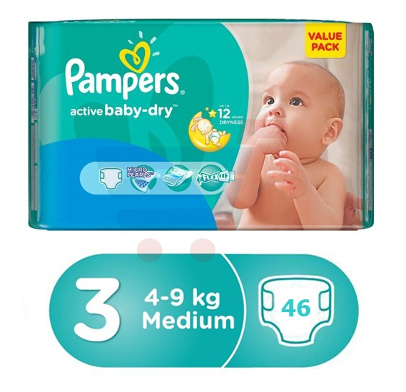 Pampers Active Baby Value Pack 4-9Kg, 46 Count (1x46Pcs)