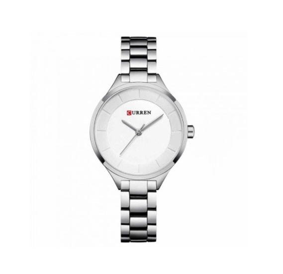 Curren Luxury Minimal Design Analog Stainless Steel Watch For Women, 9015,Silver