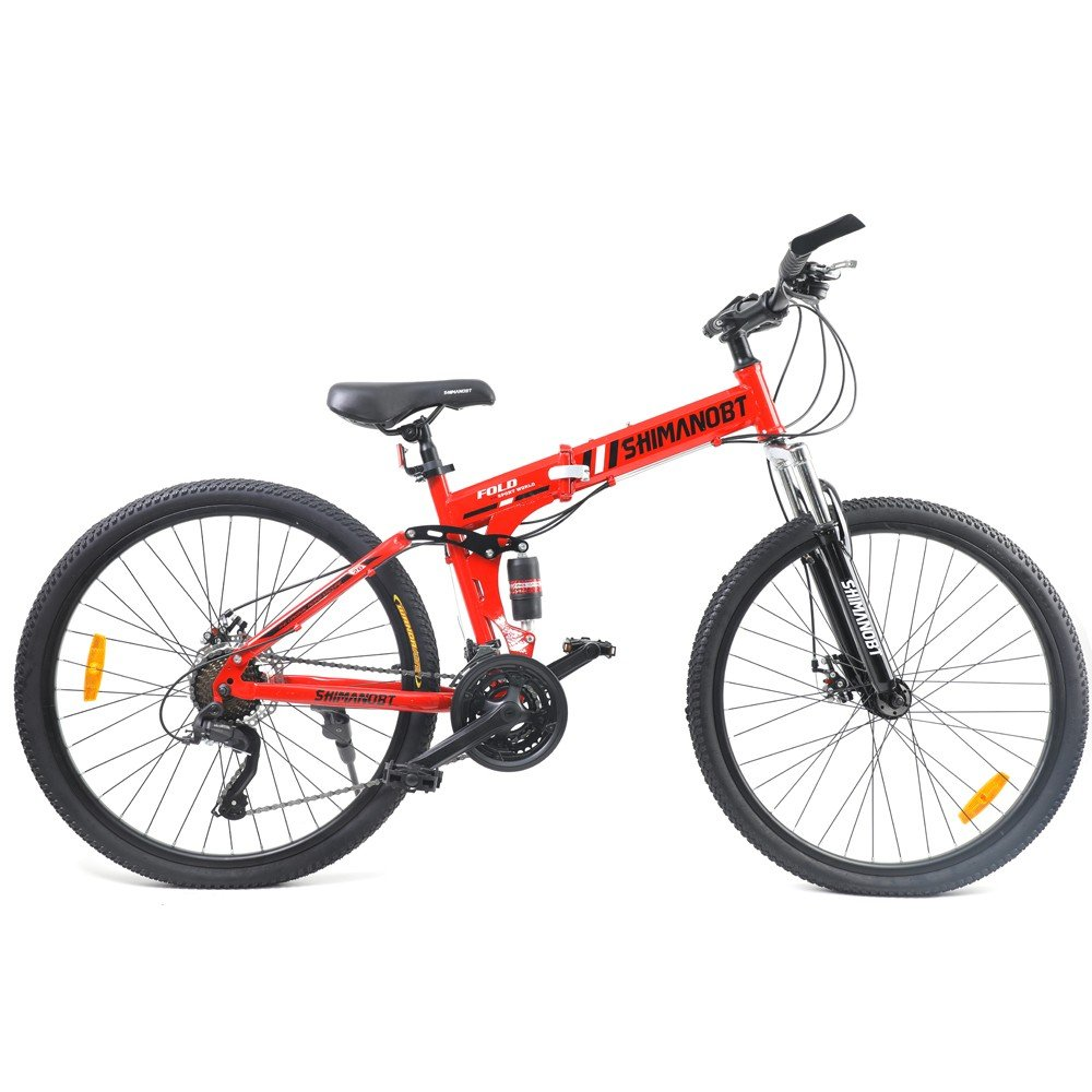 Shimano BT Foldable Bicycle With Steel Frame 26 Inch, Red