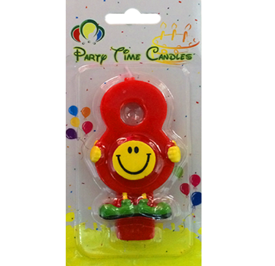 Party Time Smiley Candle 8 M082