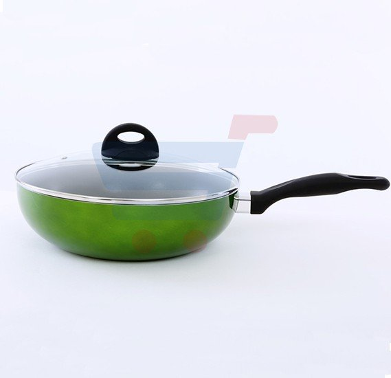 Royalford Long handle Wok Pan With Lid 26cm - RF6952