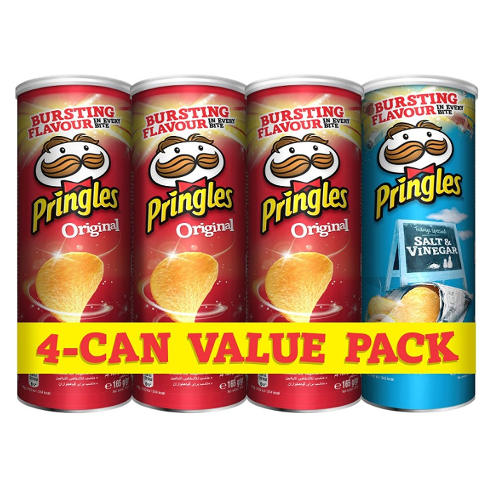 Pringles Original Flavored Chips 3 Cans Plus Pringles Salt and Vinegar Flavored Chips Can, 165 grams each (Pack of 4 Cans), 70077.501