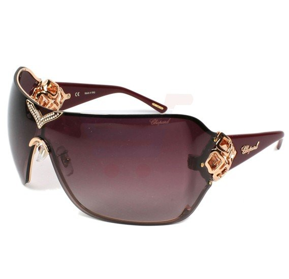 Chopard Rectangle Copper Gold Frame & Brown Gradient Mirrored Sunglass For Women - SCH999S-08FC
