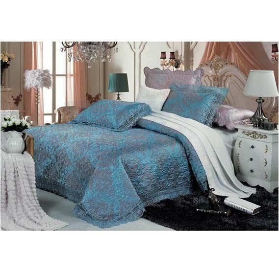 Senoures Blue Marine Jacquard Bed Spread 3Pcs Set Double - SBJ-030