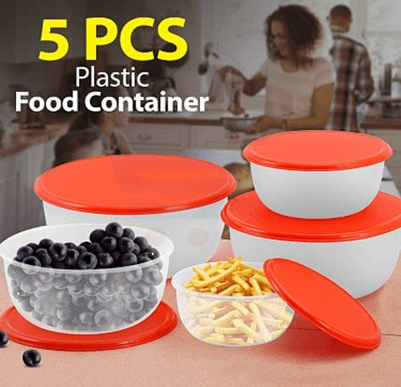 5 Pcs Set Plastic Food Container With Silicon Lid